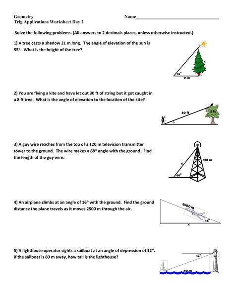 solving right triangles word problems worksheet free