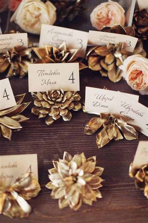 pine cone place card holders for rustic glamorous wedding you to see to believe