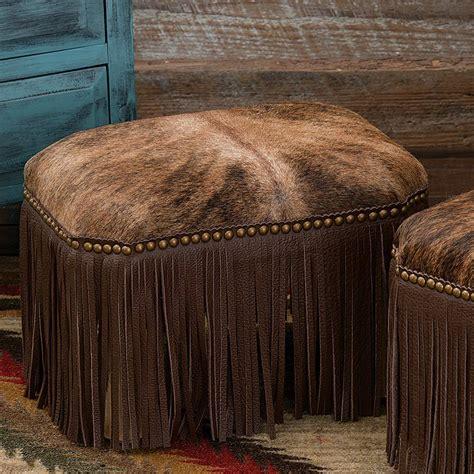 Cowhide Footstools by Brindle Cowhide Footstool Large