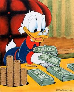 Scrooge Mcduck Counting Money Painting by Victor Minca