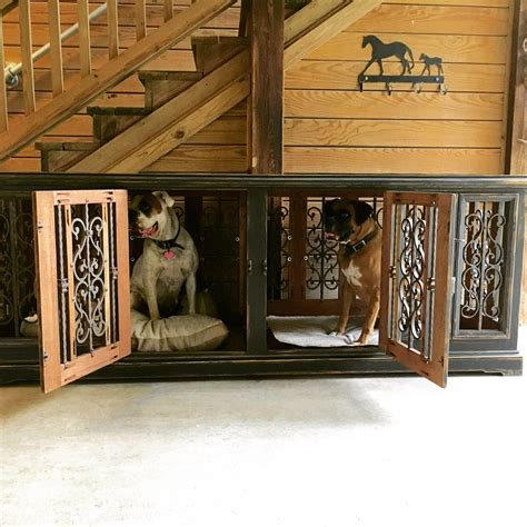 custom double dog kennel handcrafted solid wood www
