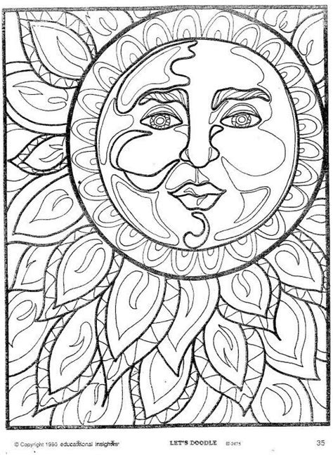 Kleurplaat Sun by American Hippie Coloring Pages Psychedelic Sun