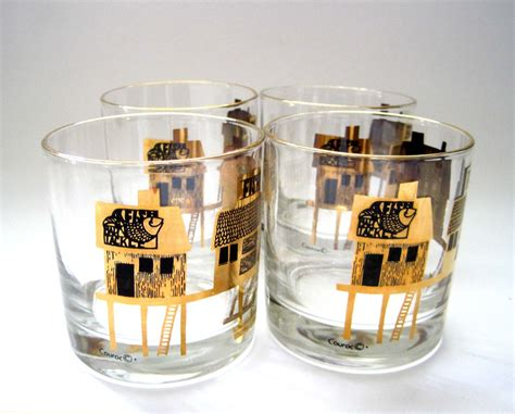 Mid Century Barware, Couroc Short Rock Glasses, Set Of 4