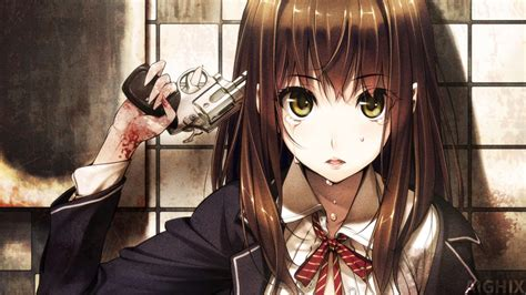 Sad Anime Girl With Gun Wallpaper By Aighix