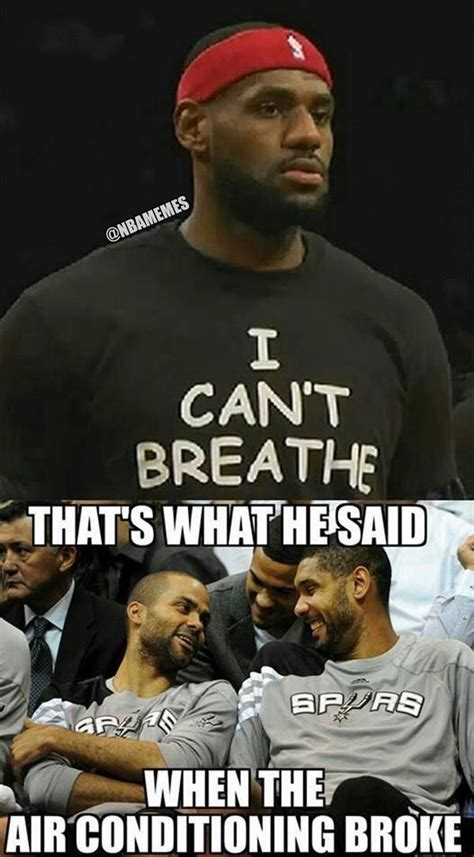 Funny Spurs Memes - san antonio spurs react to lebron james icantbreathe shirt ericgarner lol http