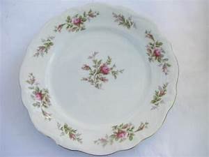 shabby pink roses, lot old antique vintage china plates
