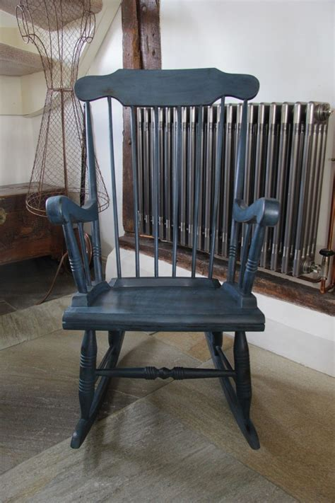 vintage shabby chic blue painted rocking chair vinterior