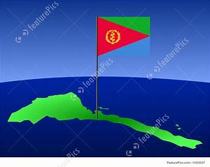 Illustration Of Map Of Eritrea With Flag