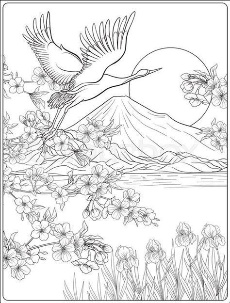 japanese landscape  mount fuji  tradition flowers   bird outline drawing coloring