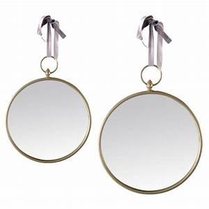 Miroir Rond à Suspendre : miroir rond gris suspendre ~ Teatrodelosmanantiales.com Idées de Décoration