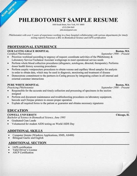 Phlebotomist Resume Sample  Best Professional Resumes