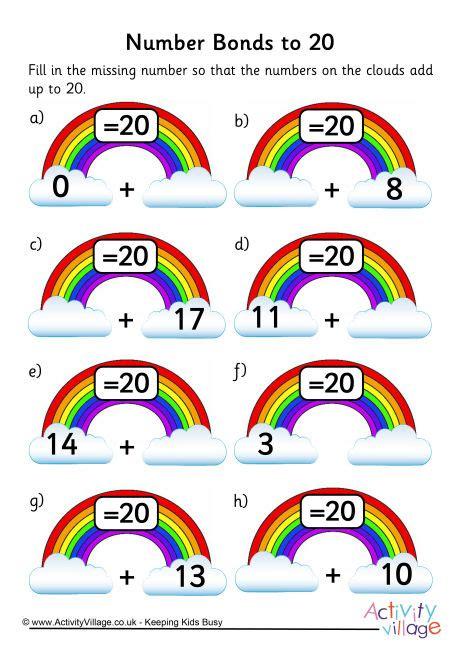 rainbow number bonds worksheet to 20