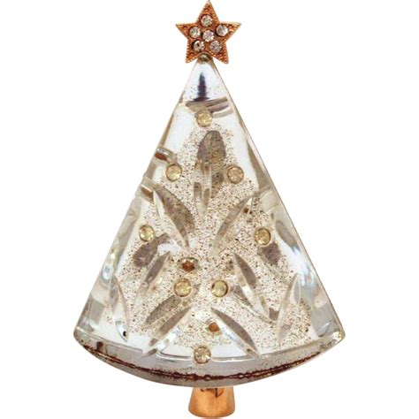 eisenberg lucite christmas tree pin gold tone with clear