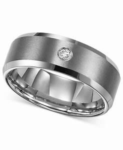 triton men39s tungsten carbide ring single diamond accent With single wedding ring
