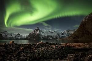 Northern, Lights, Mountains, Night, Lofoten, Islands, Lake, Wallpapers, Hd, Desktop, And, Mobile