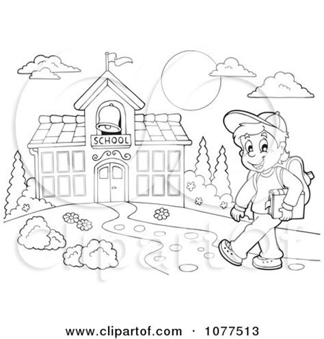 going to school clipart black and white clipart outlined happy school boy walking on a path to a