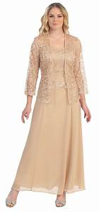 long chiffon gold mother of groom dress lace long sleeve With long jacket dresses for weddings