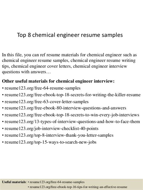 top 8 chemical engineer resume sles