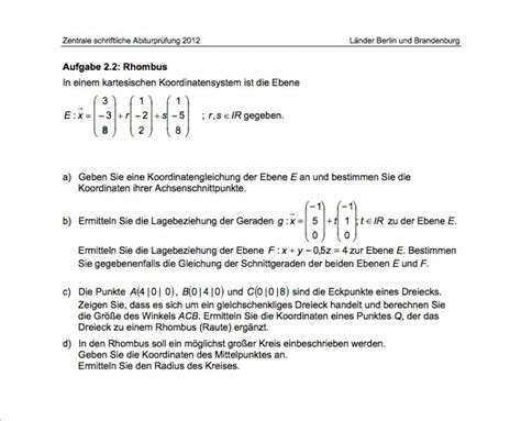 Mathe Abi 2012 Übung Koordinatengleichung Ebene, Gerade