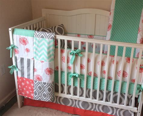 crib bedding set baby coral mint and gray