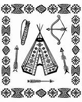 Native Coloring Symbols Tipi American Pages Adults Indian Americans Indians Theme Adult Feather Headdress Justcolor sketch template