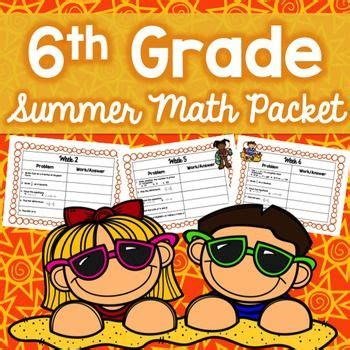 summer math packet 6th grade no prep previous year