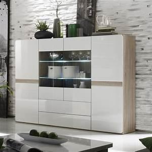 Buffet haut couleur bois et blanc laque moderne isidore 3 for Idee deco cuisine avec meuble salle a manger chene blanchi
