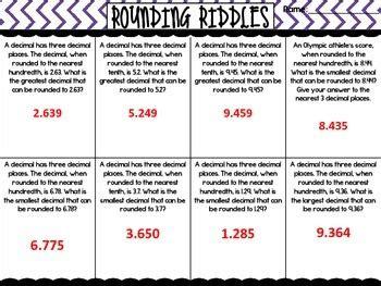 decimal rounding riddles  tasteslikepaste teachers pay