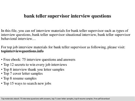 Questions For Teller Position In A Bank bank teller supervisor questions