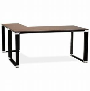 Bureau Metal Noir : bureau d 39 angle design xline en bois finition noyer et m tal noir ~ Teatrodelosmanantiales.com Idées de Décoration