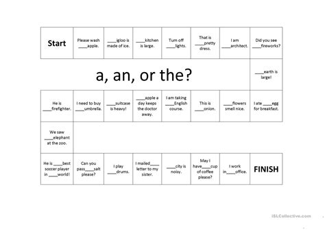 article a an and the board worksheet free esl