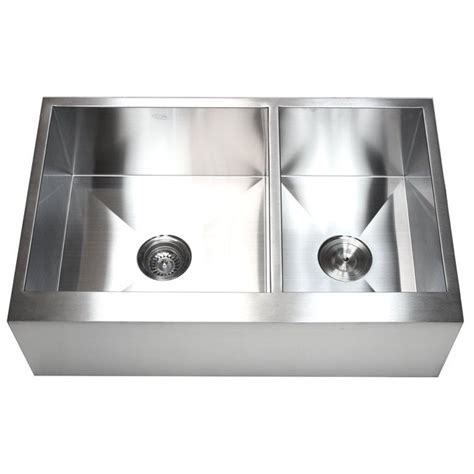33 Inch Stainless Steel 6040 Double Bowl Flat Front Farm