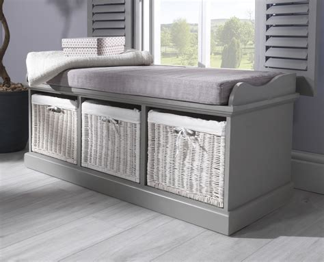 Bench Seat With Basket Storage by Tetbury Bench With 3 Storage Baskets Sturdy Hallway Bench
