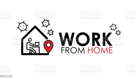 Work From Home Logo And Line Icon Work From Home Quote ...