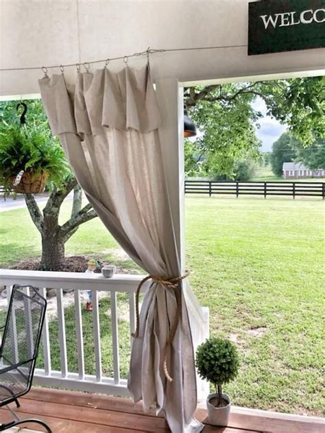 diy   hang drop cloth curtains  cable outdoor