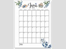 June 2018 Flower Calendar with Notes 2018 Printable