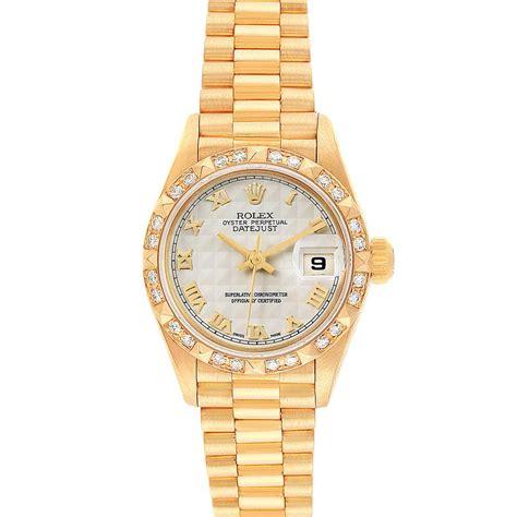 Rolex President Datejust 18k Yellow Gold Diamond Ladies ...