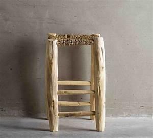 Tabouret Bois Brut : doum beldi tabouret artisanal en bois brut assise bois brut hauteur 50cm le mas imaginaire ~ Teatrodelosmanantiales.com Idées de Décoration