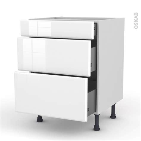 casserolier cuisine meuble de cuisine casserolier iris blanc 3 tiroirs l60 x