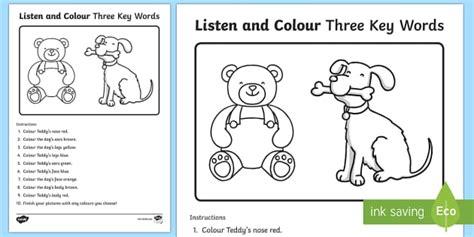 listen  colour  key words worksheet worksheet