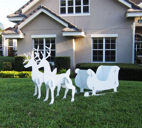 christmas outdoor santa sleigh   reindeer set ebay
