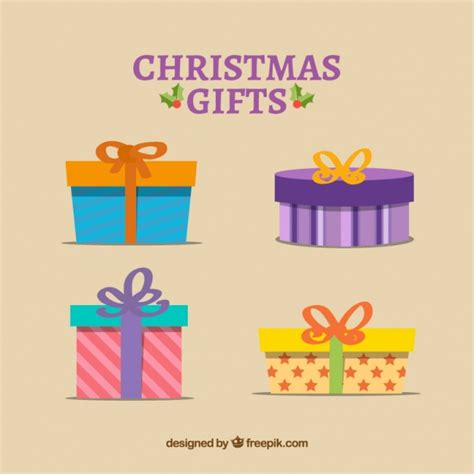 fantastic christmas gift collection vector free download