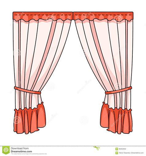 Curtains With Drapery On The Cornice.Curtains Single Icon