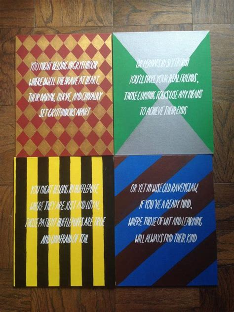 harry potter houses canvas set for sale on etsy