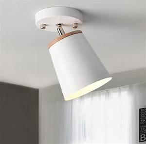 Modern Led Ceiling Light Fixture Iron Lampshade With Wood