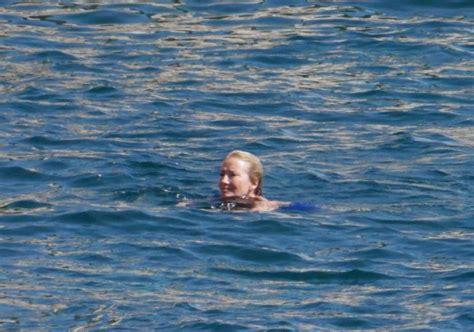 emma thompson swimsuit emma thompson in blue swimsuit 2017 16 gotceleb