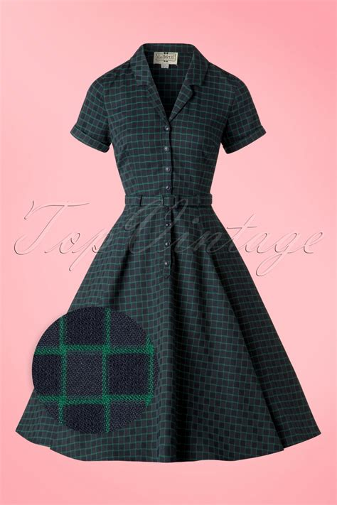 chaises retro 50s caterina chaise check swing dress in navy and green