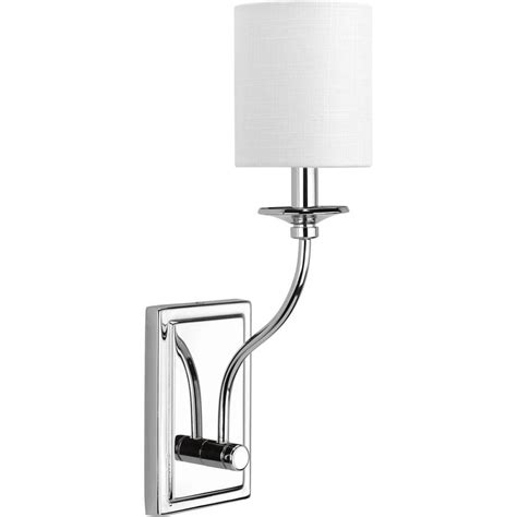 progress lighting bonita collection 1 light polished chrome wall sconce with white linen shade