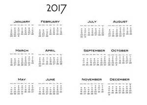 2017 Year at a Glance Printable Calendar