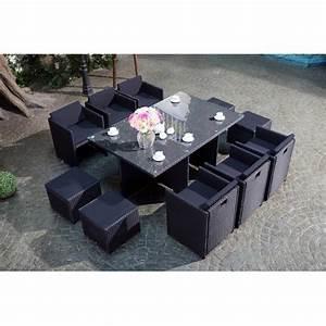 Salon De Jardin 12 Personnes : miami 10 noir noir salon encastrable 10 personnes en ~ Dailycaller-alerts.com Idées de Décoration
